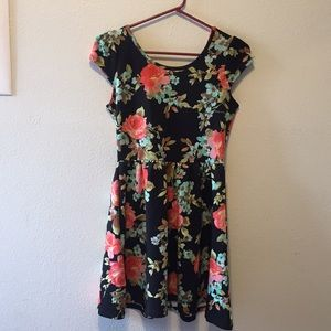 Black floral baby doll style dress
